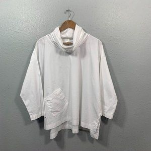 Comfy USA Solid White Cowl Neck Top Women's Size M